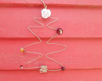 Rose wire Christmas tree ornament