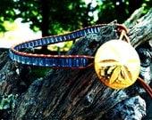Blue & Brown Leather Sand Dollar Bracelet