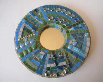 Turquoise and Green Mosaic Mirror, Heaven and Earth, Round Mirror, Teal and Aqua, Wedding Gift, Housewarming Gift, Birthday, Abstract Mosaic