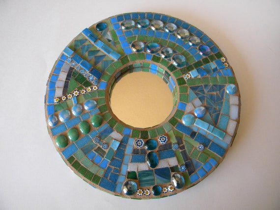 Heaven and Earth Round Abstract Mosaic Mirror - Original Art