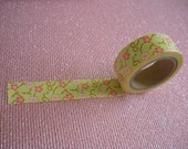 washi tape Japanese masking tape light green with floral print