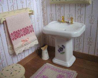 Cross-stitch Towels, bath accesorie miniature, shabby towel, romantic, handmade miniature - Dollhouses Miniature scale 1:12