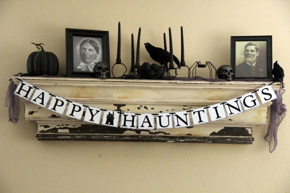 Halloween Banner Decoration - Happy Hauntings - Black - Photo Prop or Decoration - GreenJazzFace