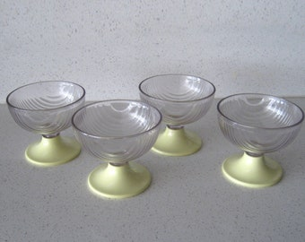 Set of 4 1960s Deco Style Pale Yellow Ice Cream Cups