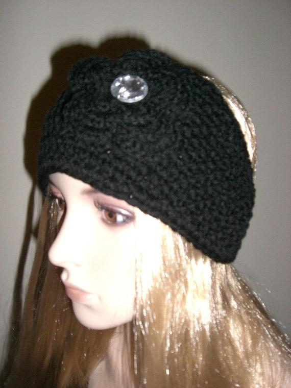 Black Knit Winter Headband Earwarmer Head Wrap With Crochet Flower