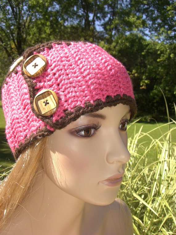 Crochet Pink and Brown Head Wrap Earwarmer Headband with Wood Buttons
