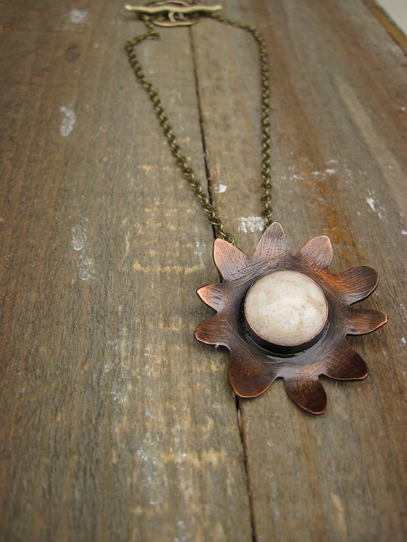 Wabi Sabi flower necklace- fossilized coral stone