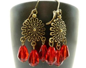 Chandelier earrings red drops crystal dangle Christmas brass filigree vintage style