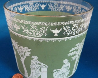 Retro Glass Ice Bucket Green Hellenic Like Jasperware Jeanette 1960s Salad Bowl Greek