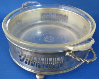 Retro Casserole With Silver Plated Art Deco Holder Caddy English Pyrex Bun Feet 1930s