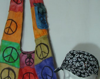 Hobo Shoulder Bag with FREE Cap (Love and Peace) 041