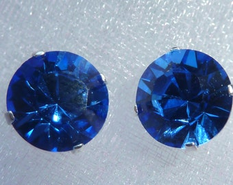 Swarovski Sapphire Blue Crystal Stud Earrings (10mm)