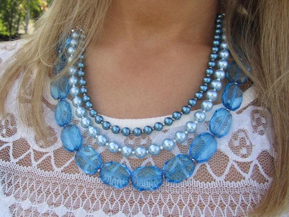 SALE Blue Pearl Statement Necklace