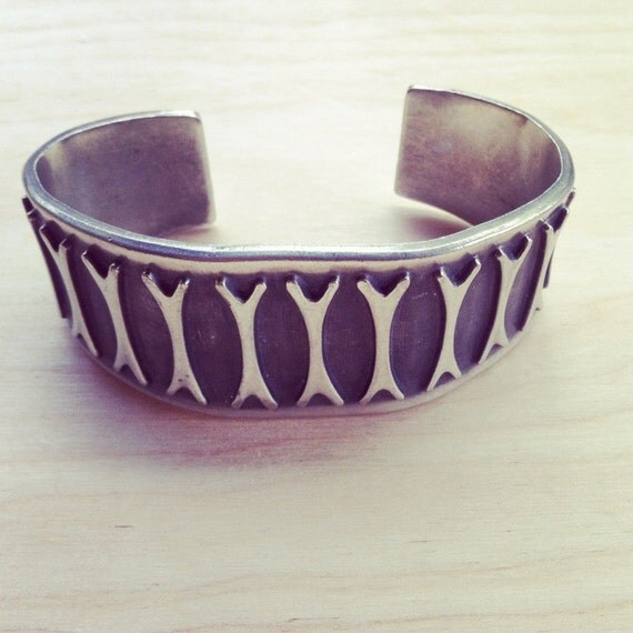 Reserved for ANNETTA Vintage Solid Pewter Cuff Bracelet 1970s