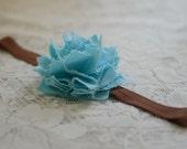 cockatoo blue fabric flower on chocolate brown headband--upcycled fashion