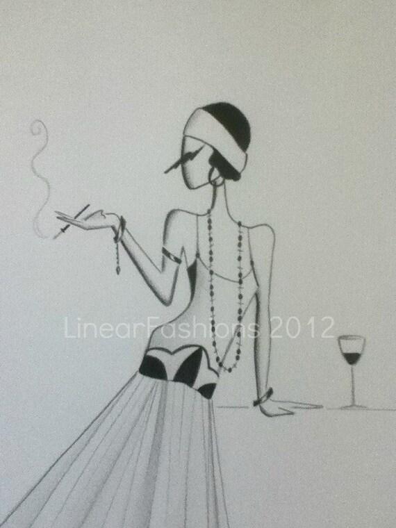 Fashion Art Illustration 1920s Art Deco Flapper Decor