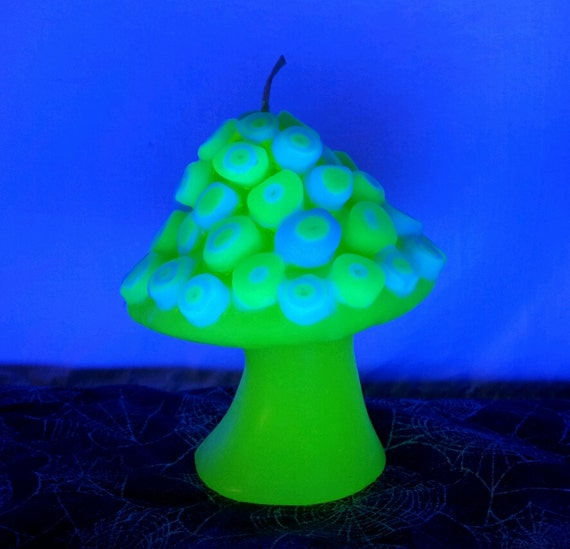 Stained glass black light responsive mushroom candle