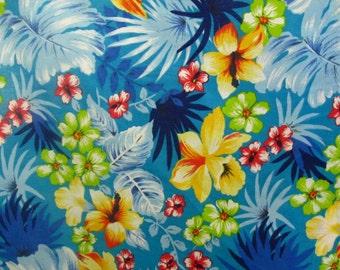 "Poly Cotton Print Hawaiian on Aqua Blue Background 60"" Fabric by the Yard - 1 Yard"