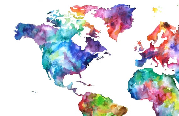 20x30 Watercolor Map Print, World Map, Watercolor Painting