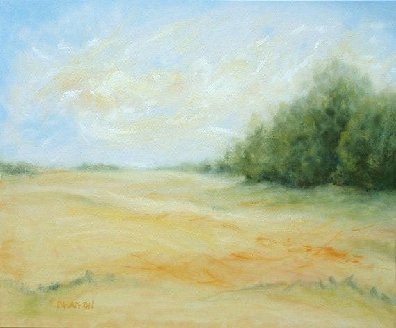 Original Painting abstract landscape large oil 20 x 24 stretched canvas August Day