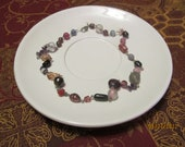Purple, pink and grey beaded necklace