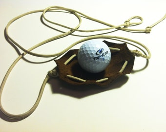 Paracord and Leather Golf Ball Thrower Shepherd Sling HANDMADE by David the Shepherd