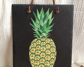 Slate Pineapple Welcome Sign