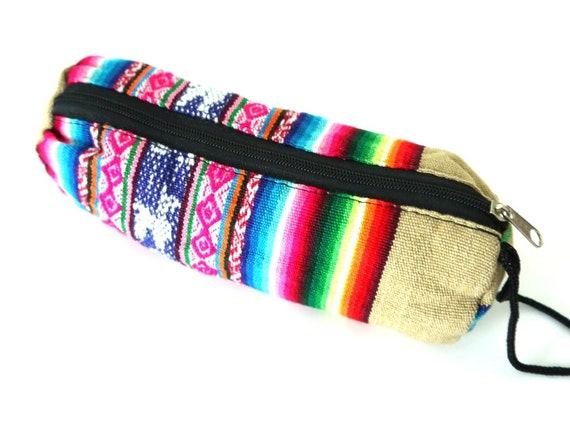Tribal Fabric Pouch, Pencil, Cosmetic Pouch, Bag, Latin American Woven Fabric