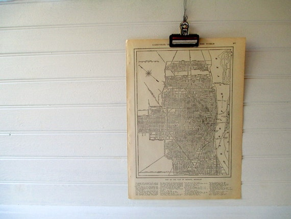 Vintage Street Map, Detroit Michigan in Black and White 1923 City Map, Vintage Map Print Wall Hanging