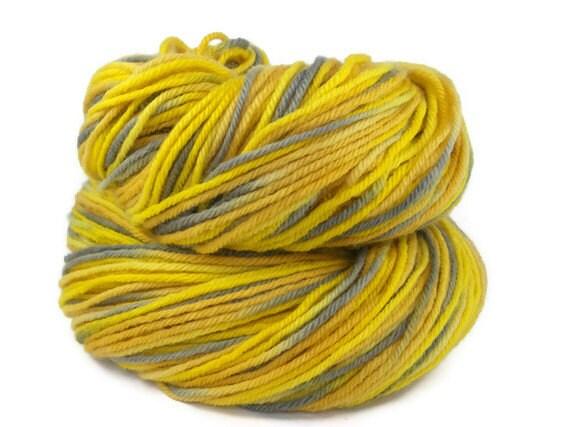 Hand Dyed Organic Merino DK Yarn Yellow and Grey