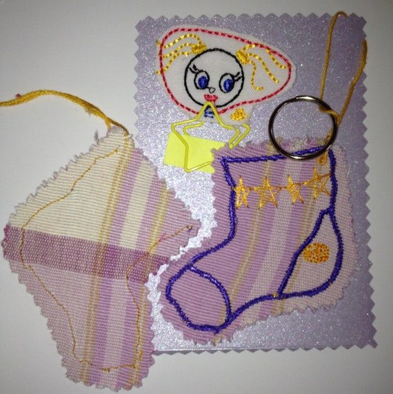Gift Stocking Set - Key Ring Stocking pouch & Embroidery Girl, Paperclip/bookmark