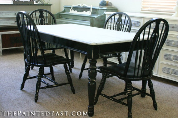 Dining Table and 4 Chairs - Distressed Look