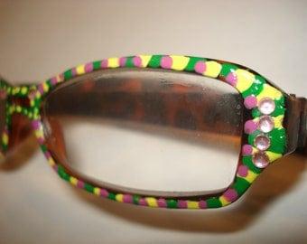fancy handpainted reading glasses