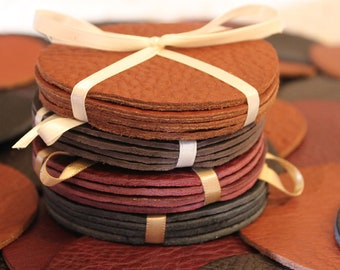 Leather Coasters Handmade in USA Set of 4