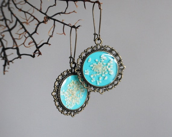 Turquoise Real Flower 01 Earrings  Resin Jewelry Mint Jade Green Queen Anne's Lace Botanical Specimen Antique Adjustable Victorian Dandelion