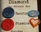 Stamina / Sanity Tokens for Arkham Horror Eldritch Horror or other board games-hand made with anatomically correct hearts & brains-set of 25