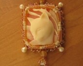 Bead Embroidered Cat Cameo