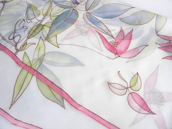 Silk scarf hand painted Pastel pink flowers