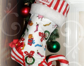 Personalized Christmas Stocking elf stocking with personalized name tag - Cindy Lou Who from The Grinch