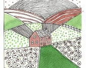 Farmhouse in the fields. Watercolor Painting. OOAK.Affordable Art.