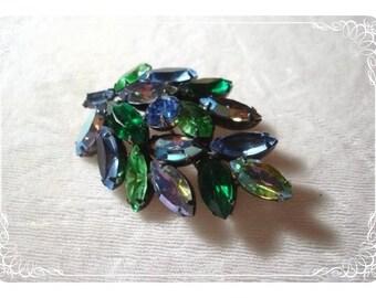 Stunning Blue & Green Marquis Rhinestone Leaf Brooch  1891ag-012312000