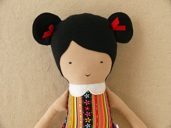 Fabric Doll Rag Doll with Black Hair and Ponytails