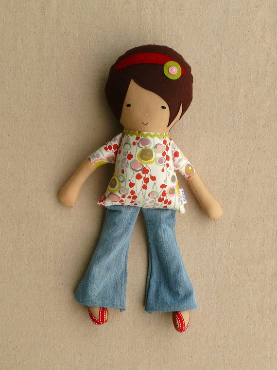 Fabric Doll Rag Doll Girl in Bell Bottom Jeans