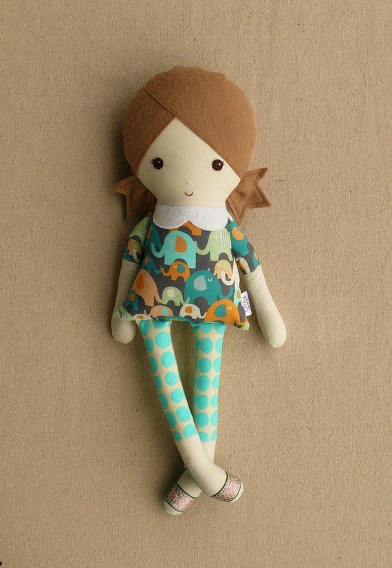 Fabric Doll Rag Doll Girl in Elephant Print Top