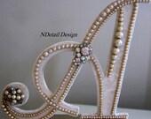 Wedding Cake Topper or Gift Table Display: Vintage Pearl Monogram Multiple Letters