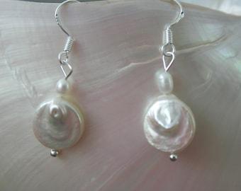 Earrings dangles coins freshwater pearls - white, delicate, elegant ,silver, wedding