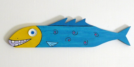 Reclaimed wood colorful funky fish art sculpture - M&M's 2