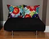 """24""""x24"""" Upholstered Pet Bed / Cat Bed / Small Dog Bed /// Pet Lounger with Pillows"""