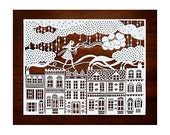 Original Papercut - Girl on the Rooftops with Balloons - Handcut Paper Illustration - SarahTrumbauer