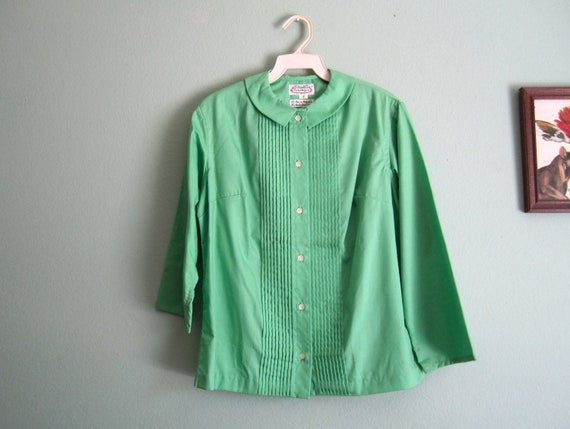 1960s blouse/ The Villager deadstock nos blouse/ bright pistachio green button up S-M